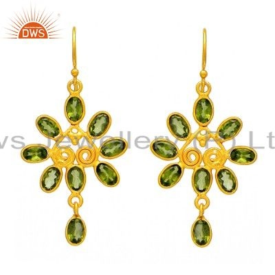 Real Peridot Gemstone Studded Earrings In 18K Gold Over Sterling Silver Jewelry