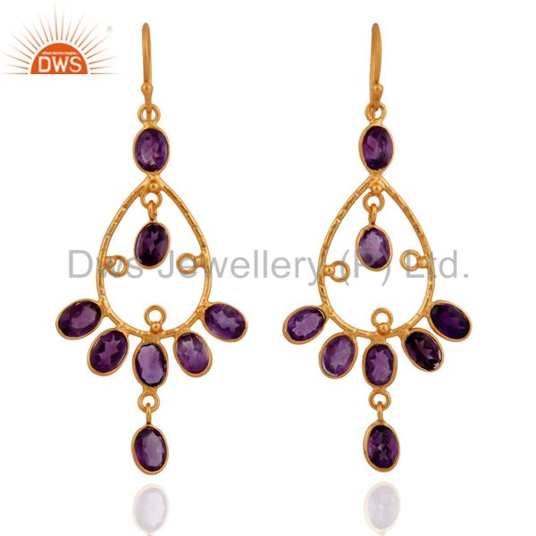 18k Yellow Gold Plated 925 Sterling Silver Amethyst Chandelier Earrings