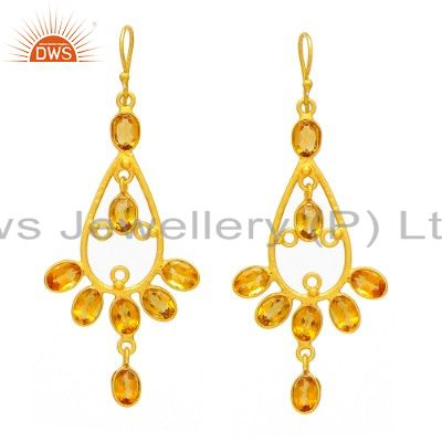 24K Yellow Gold Plated Sterling Silver Citrine Gemstone Dangle Earrings
