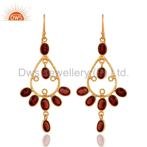 Handmade Genuine Garnet 925 Sterling Silver Gold Plated Designer Earrings