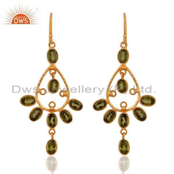 18k Gold Over 925 Sterling Silver Genuine Peridot Gemstone Designer Earrings