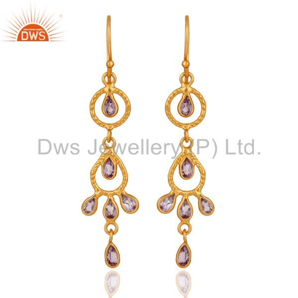 Handmade 925 Sterling Silver Amethyst Gemstone Earring With 18K Gold Plated
