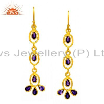 24K Yellow Gold Plated Sterling Silver Amethyst Gemstone Designer Dangle Earring