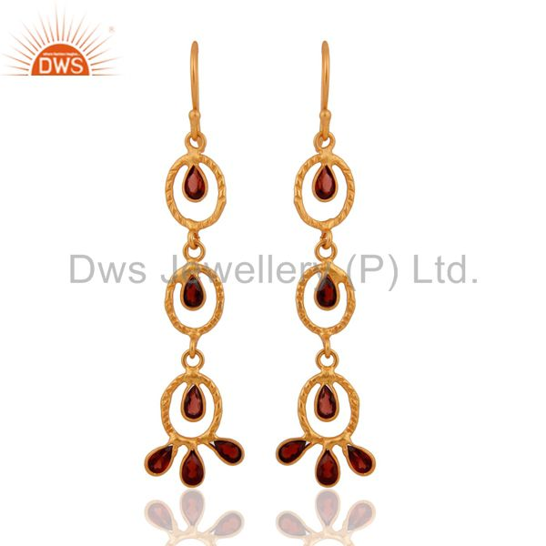 Natural Garnet Dangle Earring Gemstone Sterling Silver Handmade Indian Jewellery
