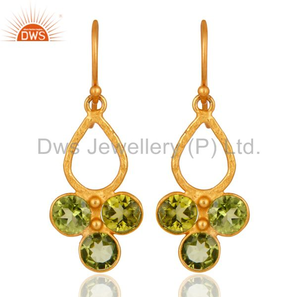 Natural Peridot Gemstone 925 Sterling Silver Wedding Party Wear Earrings Jewelry