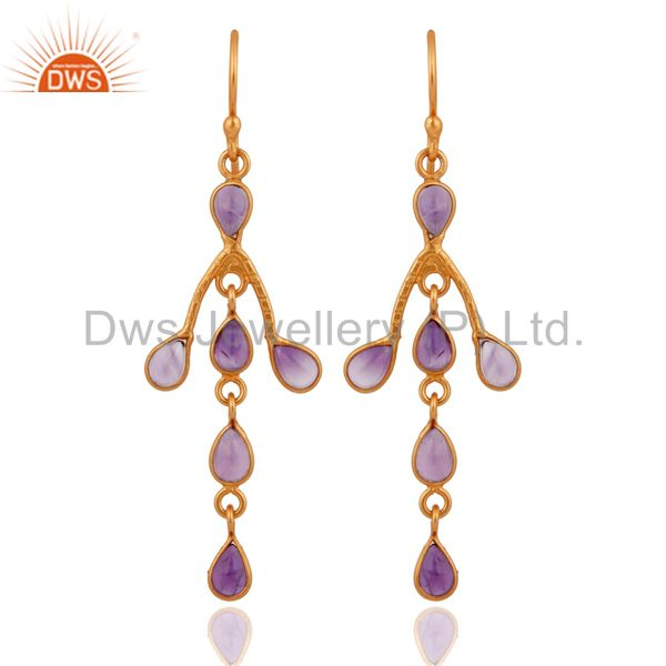 Handmade Amethyst Gemstone 18K Gold Plated Sterling Silver Dangle Earrings