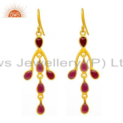 Natural Garnet Gemstone Dangle Earrings Made In 22K Yellow Gold Over Silver