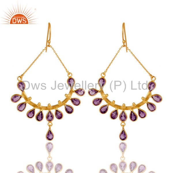 Natural Amethyst and 18K Gold Plated 925 Silver Dangler Earring