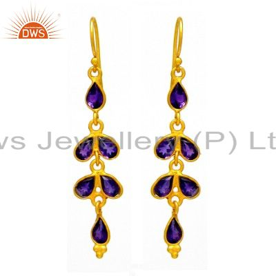 Handmade Amethyst Gemstone Dangle Earrings Made in 18K Gold Over Silver