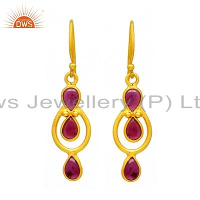 Handmade Garnet Gemstone 18K Yellow Gold Plated Sterling Silver Dangle Earrings