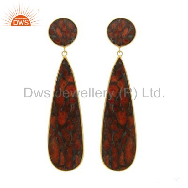 18K Yellow Gold Plated Sterling Silver Bezel Set Red Coral Dangle Earrings