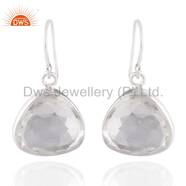 Natural Rock Crystal Quartz 925 Sterling Silver Women Fashion Earring Jewelry