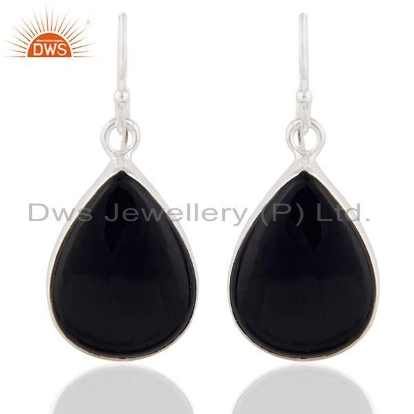 Indian Handmade 925 Sterling Silver Black Onyx Gemstone Dangle Earrings Jewelry