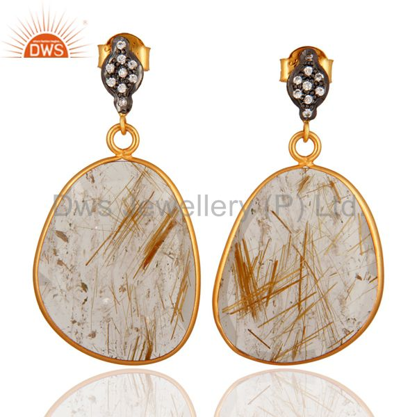 Quality Gemstone Golden Rutile Quartz CZ Studded Earring Made in Sterling Silver