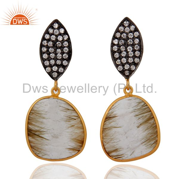 Sliced Rutilated Quartz & White Cubic Zirconia Earring in 18k Gold On Silver 925