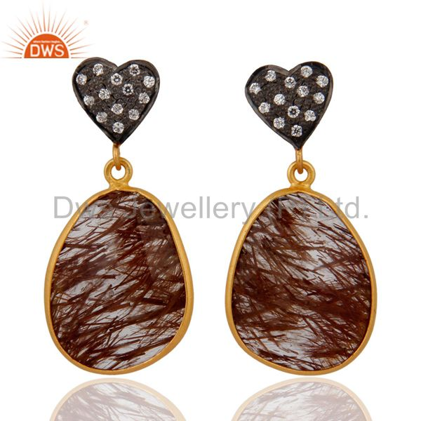 18k Gold Plated 925 Sterling Silver Rutilated Quartz Earring With Cubic Zirconia