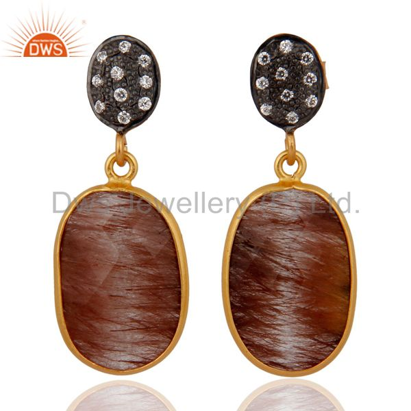 Designer Golden Rutilated Quartz Earrings Made in 925 Sterling SIlver Jewelry