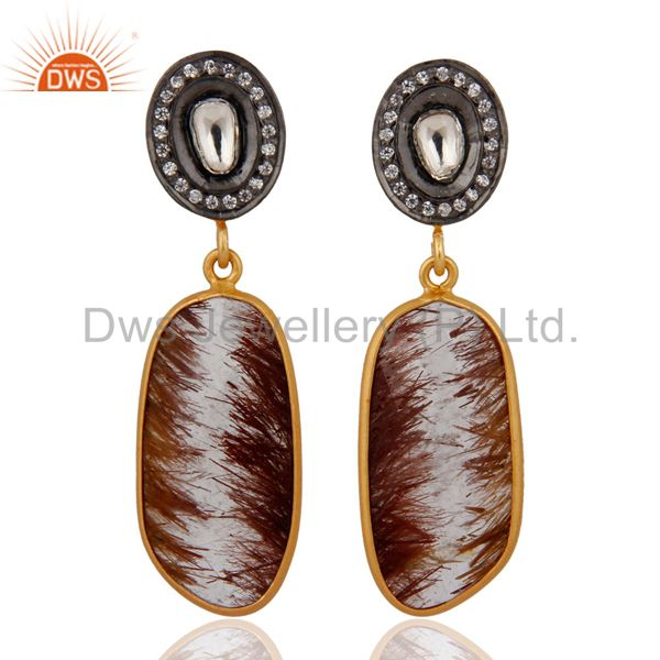 Beautiful Rutilated Quartz Crystal Polki Sterling Silver Gold Plated Earrings