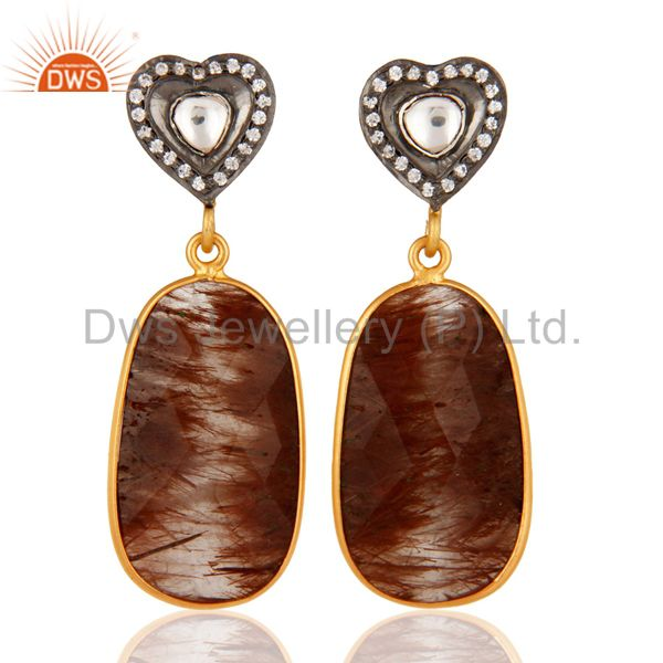 24K Gold Plated Sterling Silver Cubic Zirconia And Rutilated Quartz Earrings