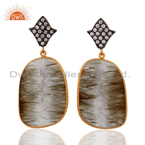 14k Gold Over 925 Sterling Silver Rutile Quartz Gemstone Fashion Dangle Earrings
