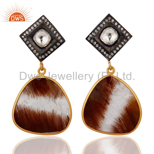 18K Gold Plated 925 Sterling Silver Rutilated Quartz Designer Jewelry Earrings