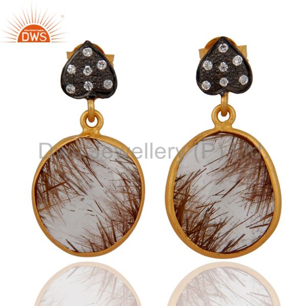 Gorgeous Rutilated Quartz Faceted Gemstone and White Zircon Dangle Earrings