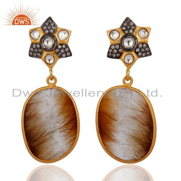Gold Plated 925 Sterling Silver Rutilated Quartz White Zircon Earrings