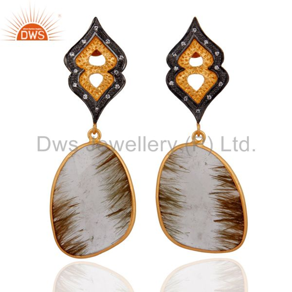 Golden Rutilated Quartz Earrings With Cubic Zirconia IN 24K Gold Over 925 Silver