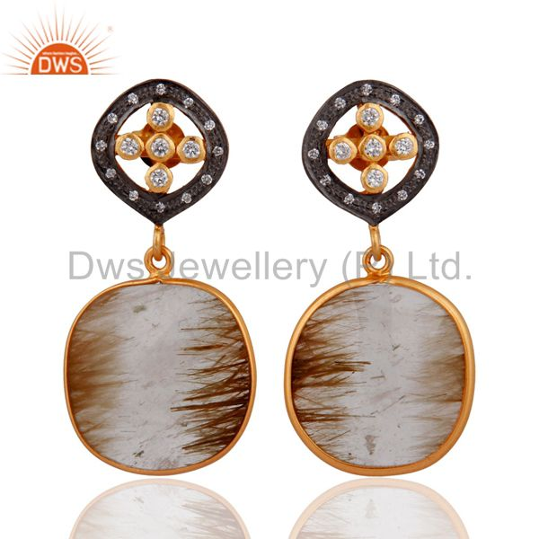 18KT Gold Plated Sterling Silver Golden Rutile Quartz Dangle Earrings With CZ