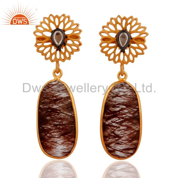 Rutilated Quartz & Zircon 18k Gold Plated Sterling Silver Floral Design Earring