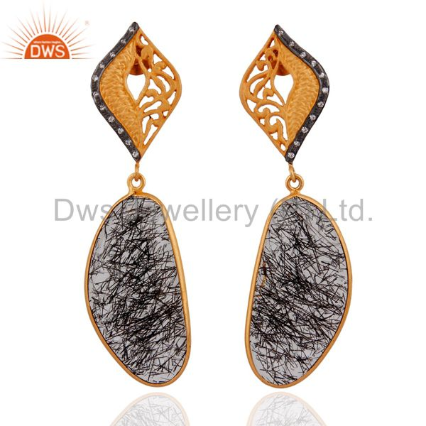 Designer Black Tourmalinated Quartz 925 Silver Earrings With 24k Gold Plated