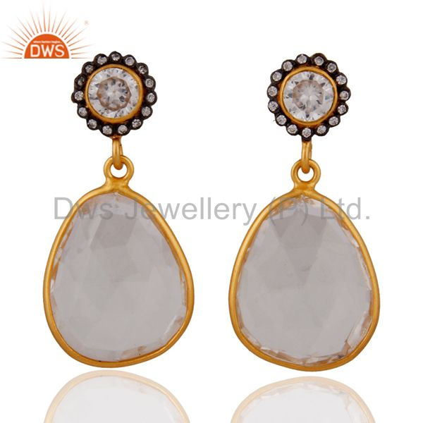 Gold Plated 925 Sterling Silver Crystal Quartz Dangle Earrings With White Zircon