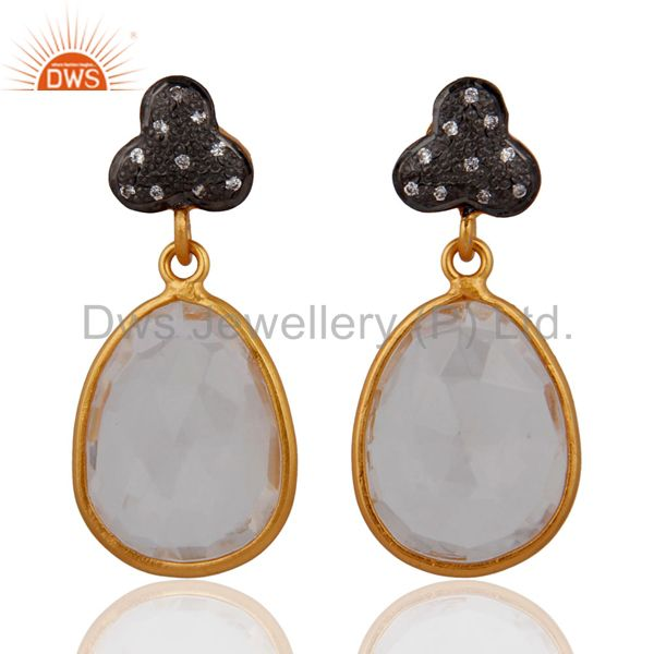 Natural Clear Quartz Crystal Dangle Earring in Gold Plated On Sterling Silver