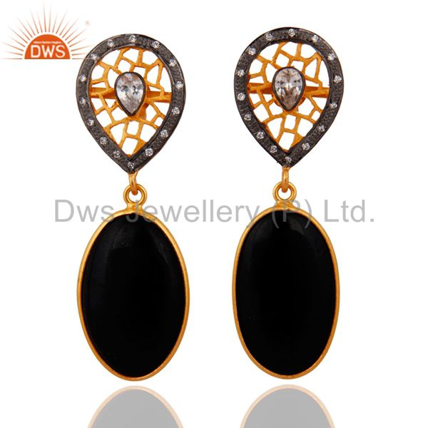 925 Sterling SIlver White Zircon & Black Onyx Gemstone Earring With Gold Plated