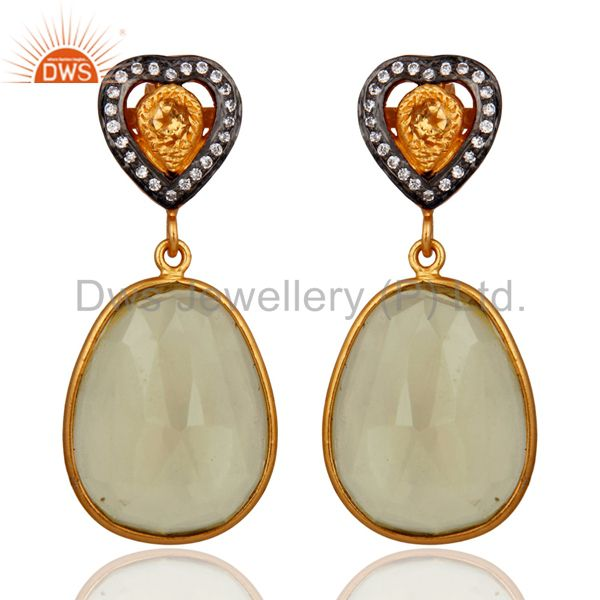 18k Gold Plated Sterling Silver Citrine Lemon Topaz Bezel Drop Earrings