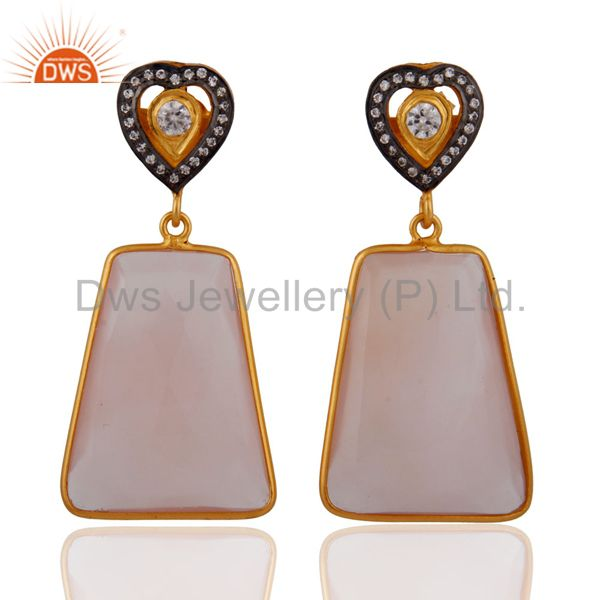 Natural Chalcedony Faceted Gemstone Bezel Drop Earring in Gold Plated on Silver
