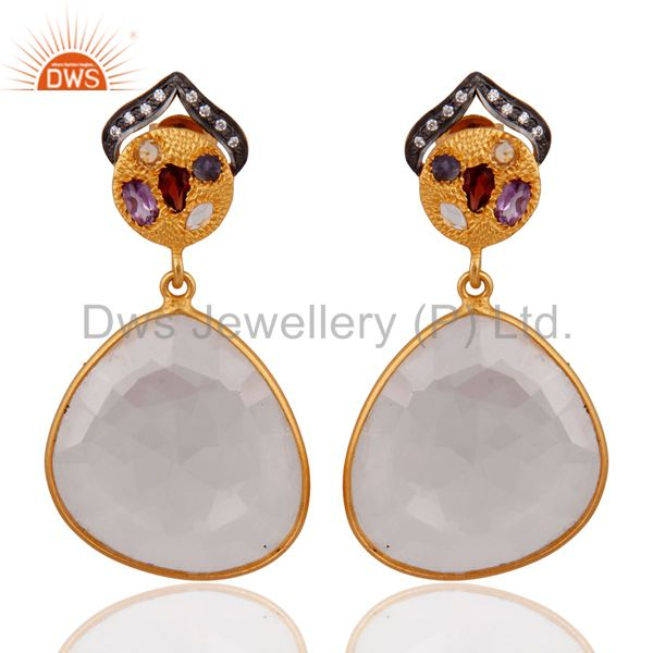 .925 Sterling Silver Faceted Crystal Bezel Set Gold Plated Dangle Drop Earrings