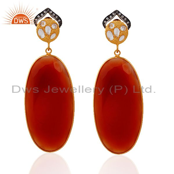 Handmade 925 Sterling Silver Gold Plated Red Onyx Gemstone Dangle Earrings