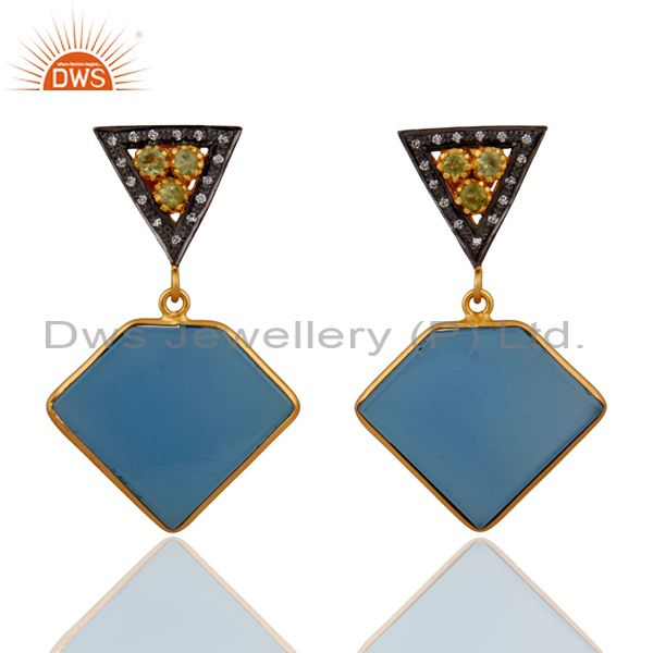Natural Peridot 925 Sterling Silver Blue Chalcedony Earring 18k Gold Plated