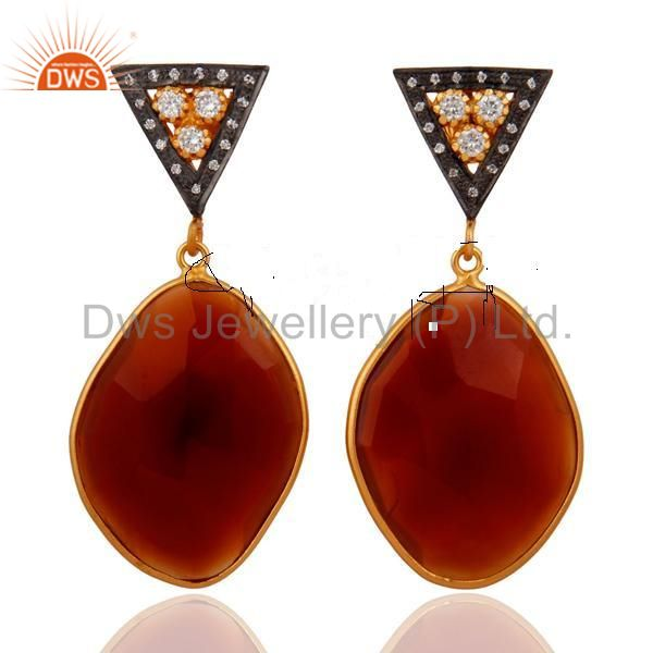 18k Gold Over Sterling Silver Red Onyx Faceted Gemstone Pave CZ Dangle Earring