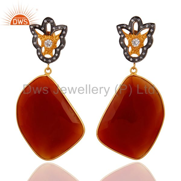 Natural Gemstone Red Onyx Slice Cut 18k Gold Plated 925 Sterling Silver Earrings
