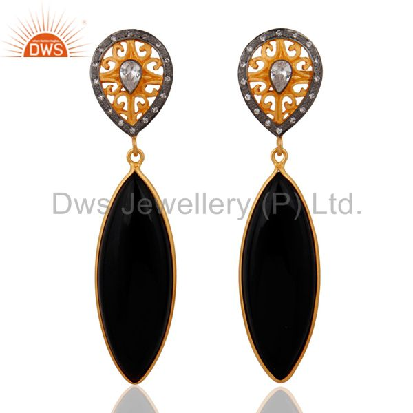 White Cubic Zirconia 925 Sterling Silver Black Onyx Drop Dangle Earring With 18K