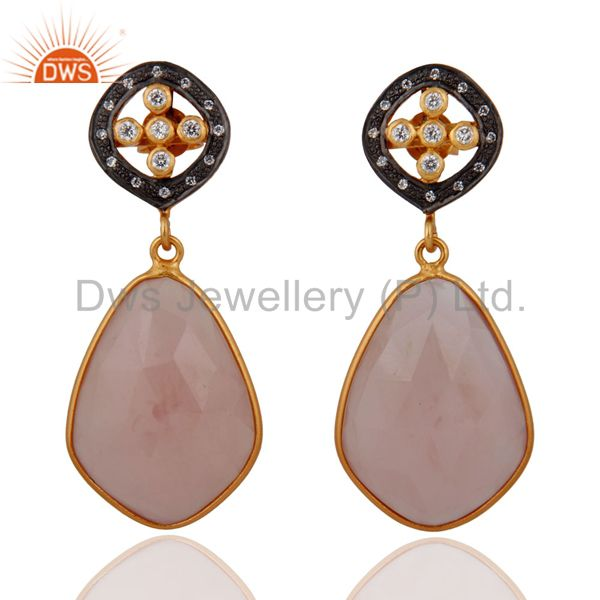 White Cubic Zirconia 925 Sterling Silver 18k Gold Plated Chalcedony Earrings