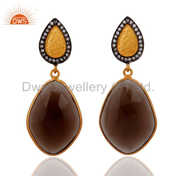 925 Sterling Silver Smoky Quartz Earrings 18k Gold Plated Wedding Jewelry