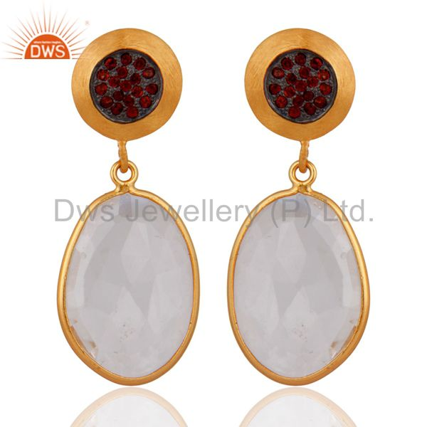 Crystal Quartz 925 Sterling Silver Gold Plated Garnet Gemstone Earrings