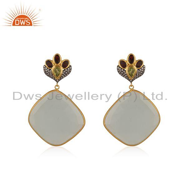 Multi Gemstone Gold Plated Brass Fashion Earrings Manufacturers india