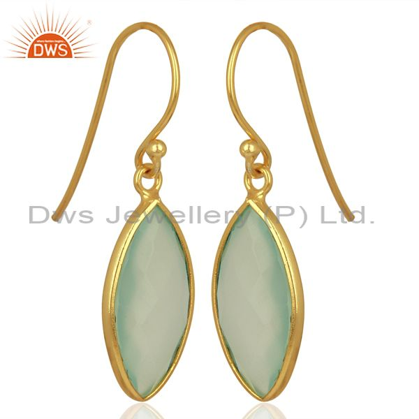 Dyed Aqua Chalcedony Bezel Set Sterling Silver 18K Gold Plated Dangle  Earrings
