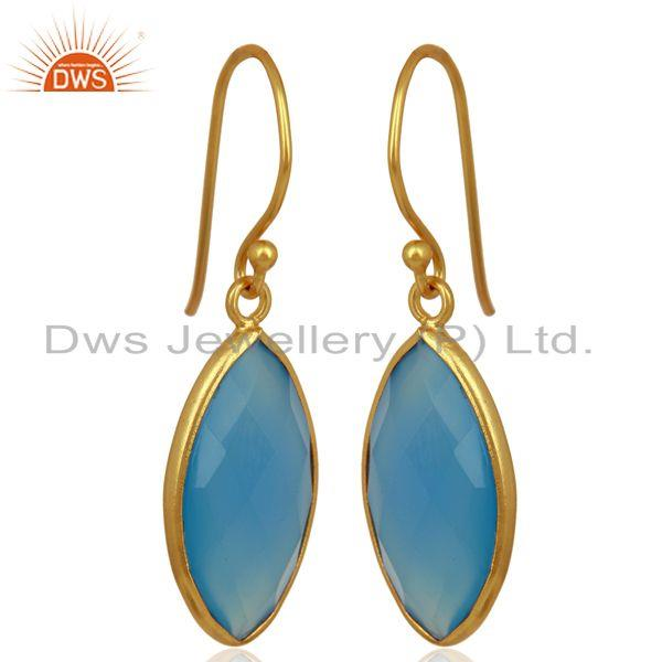 Blue Chalcedony Drop 14K Yellow Gold Plated 925 Sterling Silver Earrings Jewelry