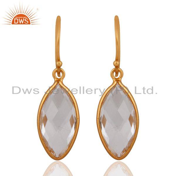 Natural Crystal Quartz Earring Solid Sterling SIlver 925 Gold Plated Jewelry