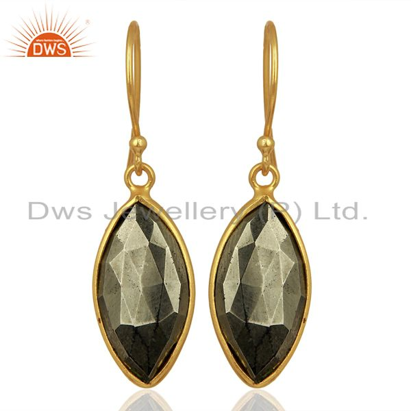 Pyrite Gemstone Bezel Set Sterling 925 Silver 18K Gold Plated Dangle Earrings